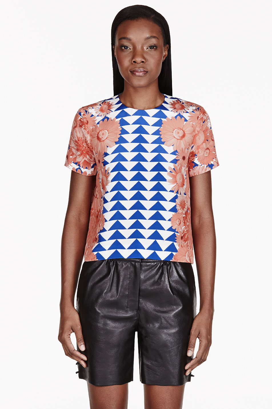 mother of pearl coral crepe de chine boxy juno heave t_shirt
