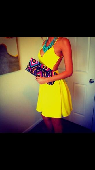 cut-out dress yellow dress summer dress yellow