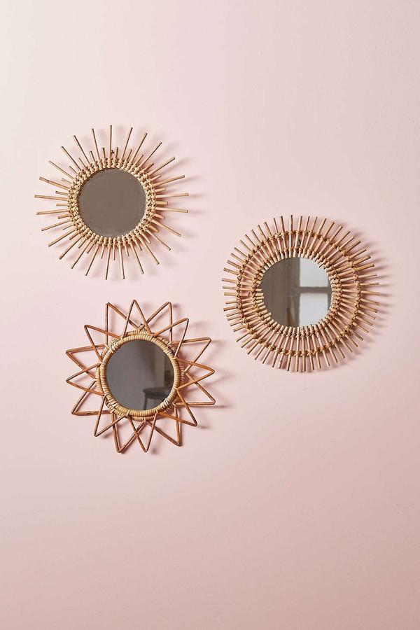 home accessory magical thinking urban outfitters wood mirror beach house boho wall decor home decor stars sun