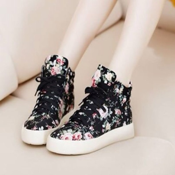 28ac71b3d19 shoes black sneakers laces high top sneakers floral shoes floral sneakers