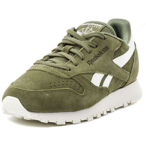 92222bb534c6 Reebok CL Leather Suede Womens Leather Green White Trainers