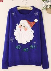 sweater,christmas sweater,royal blue sweater,chritmas presents