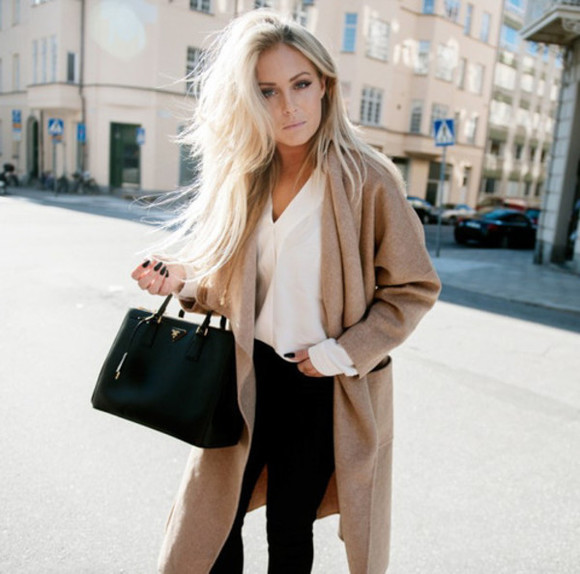 long coat white shirt