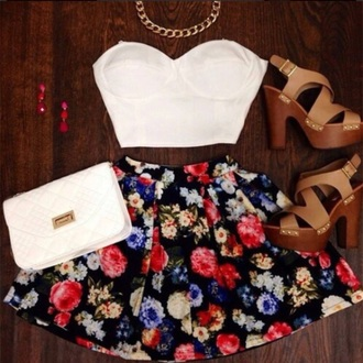 skirt flower shirt floral skirt skater skirt bag shoes hair accessory top