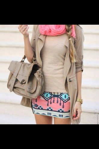 cardigan mini skirt aztec print skirt