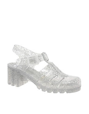 Juju | Juju Babe Glitter Heeled Jelly Sandals at ASOS