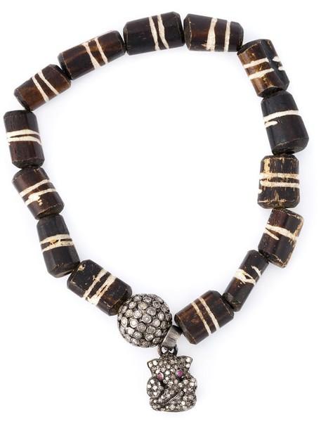 wood women charm bracelet silver brown jewels