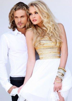 Short White Gold Sherri Hill 11028 Beaded Prom Dresses [short white prom dresses] - $155.00 : Cheap Sequin Prom Dresses2014,Online Tailored Prom Dresses Shop,Homecoming Dresses Cheap