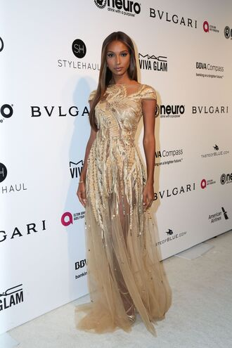 dress gold maxi dress jasmine tookes model off-duty oscars oscars 2017