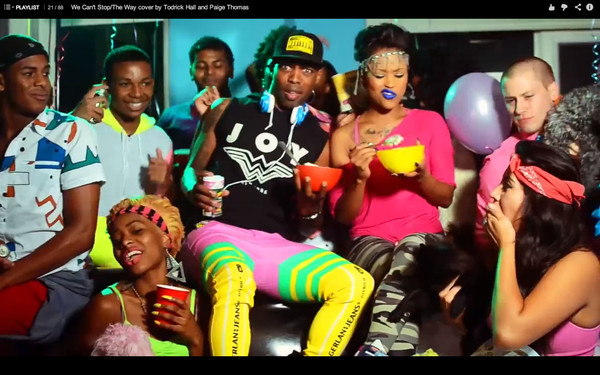 jeans pants music video toddrick hall paige thomas we can't stop the way gerlan jeans neon pencil pants joyrich