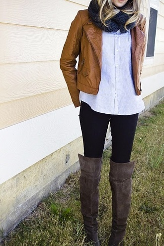 shoes boots clothes leather fall outfits jacket scarf light brown leather jacket light brown leather jacket grey boots shirt jeans skinny jeans biker jacket infinity scarf button up blouse blouse leggings