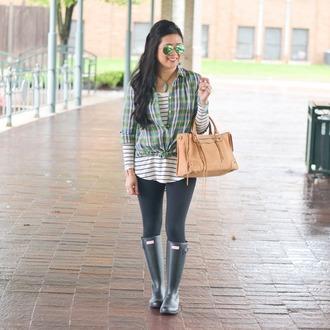 morepiecesofme blogger sunglasses jewels t-shirt bag leggings handbag wellies striped top shirt