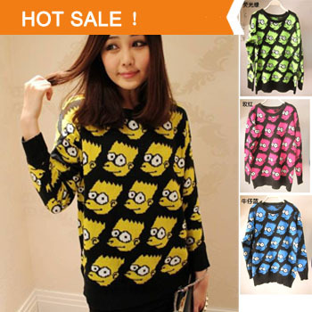 Free shipping 2013 New style women Europe United States big bart simpson knitting sweater coat new women outwear UP plus size-in Pullovers from Apparel & Accessories on Aliexpress.com | Alibaba Group