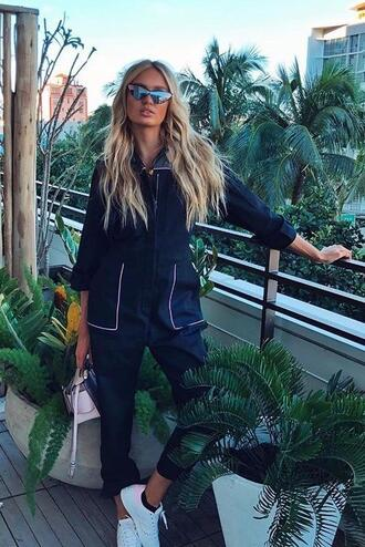 jumpsuit pants model off-duty romee strijd sneakers top sunglasses