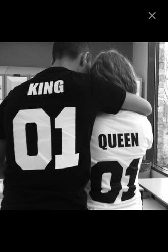 shirt couple kings queen 01 no 1 black white black and white girlfriend boyfriend love cute