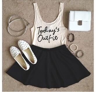jumpsuit skater skirt tank top bracelets outfit