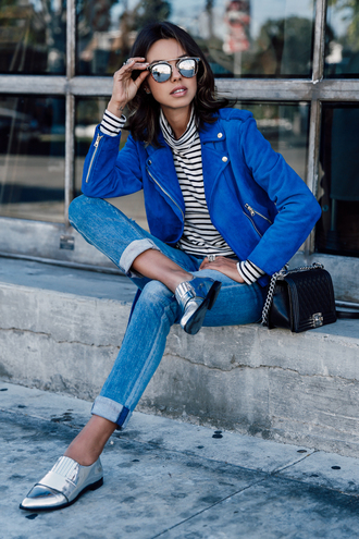 viva luxury blogger jacket jeans shirt bag shoes sunglasses jewels