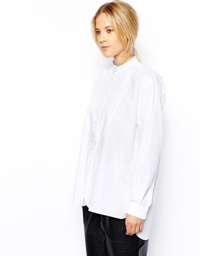 ASOS | ASOS Shirt with Grandad Collar and Bib Detail at ASOS