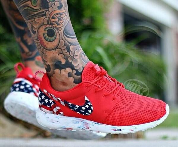 Nike Roshe Run Red Marble American Flag Pride Print By