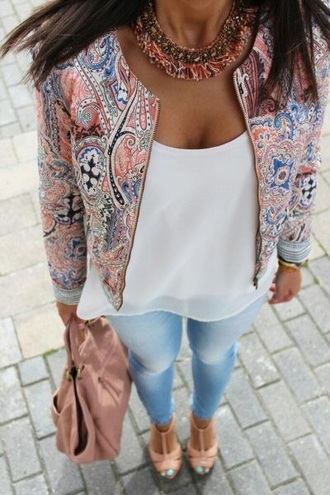 jacket pink blue white necklace spring outfit lookbook ootd