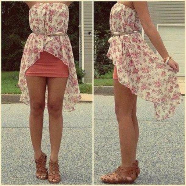 dress tight skirt floral high low dresses wheretoget