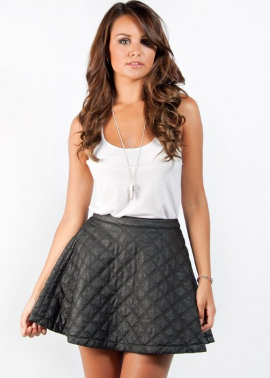 Quilted Skater Skirt by - in Black in Women | Clothing online ...