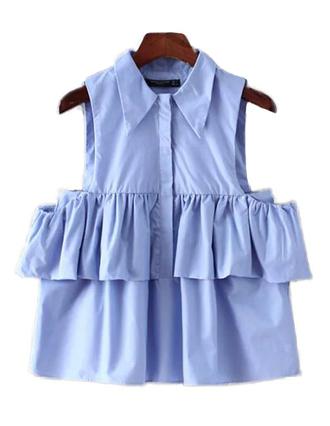 tank top crop tops brenda-shop date outfit sleeveless blue blouse top shirt light blue sky blue ruffle ruffled top cute cute top cute outfits summer sexy summer top