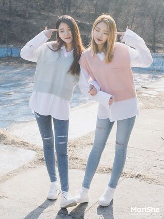 sweater blouse rose blue baby blue light blue pink white cute collar pastel kstyle girly sweet playful lovely korean style korean fashion partner shirts