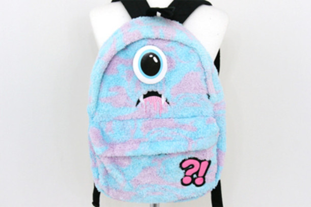 Bag: cute, backpack, monsters inc, light blue, purple, korean ...