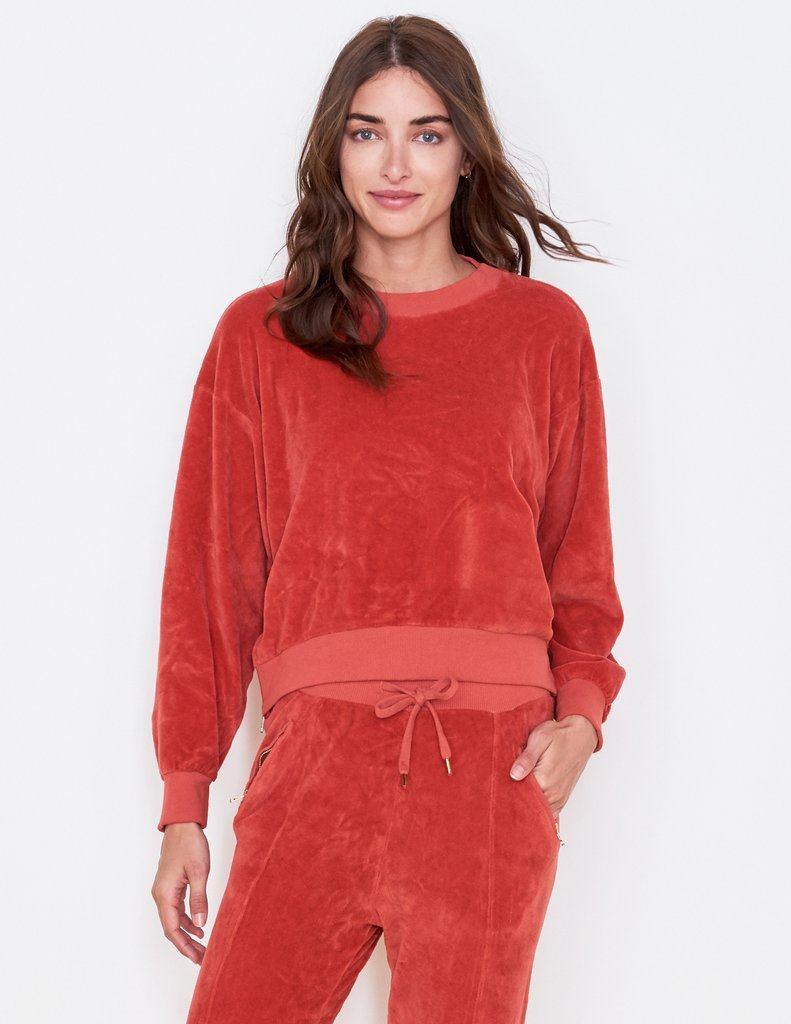 Sundry Side Zip Velour Sweatshirt