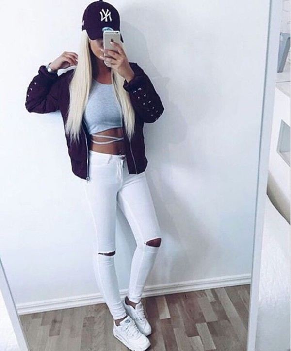 pants clothes modern fashion shirt jeans white jeans skinny jeans grey top crop tops