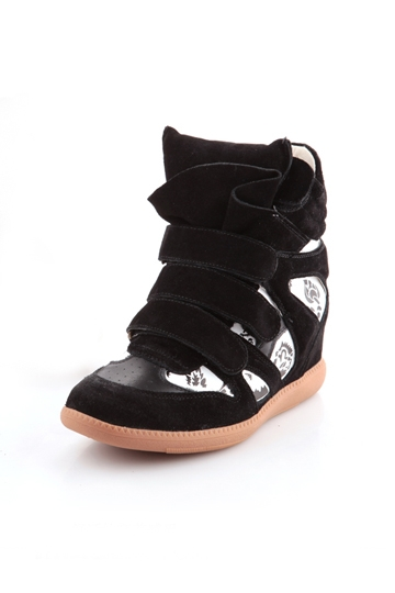 Black and White High-Top Hidden Wedge Sneaker [FABI1485]- US$64.99 - PersunMall.com