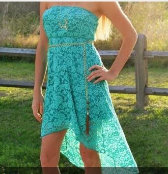 dress turquoise high-low dresses country