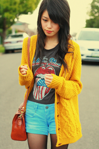 grey t-shirt kani brogues wool stitch long yellow jacket