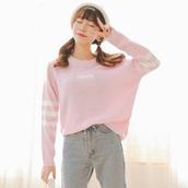 sweater,pullover top,korean fashion,한국 패션,한국,pink,stripes,white,kpop,long pullover top,K-pop