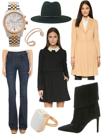 the glam files blogger jewels hat coat jeans dress shoes