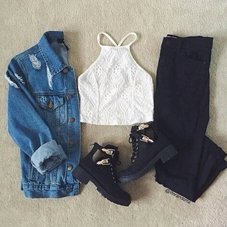 shoes jeans blue ripped grunge jacket oversized cute boho tumblr black boots heels cool class choker necklace little black boots