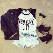 shirt,new york city,shorts,shoes,jacket,jewels,t-shirt,black and white,baseball tee,top