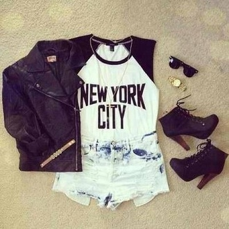 shorts shoes shirt jewels new york city jacket t-shirt black and white baseball tee top