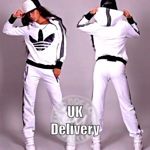 Trendy Womens White Black Tracksuit Pants Tops jogging Sportswear Size ...