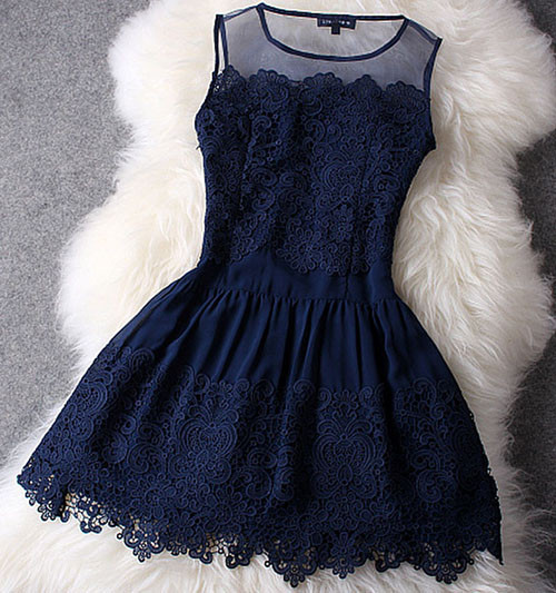 Lace Dress In Navy Blue – Lily & Co.