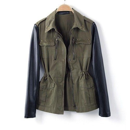Women faux leather sleeve retro military green jackets rivet collar blazer coat