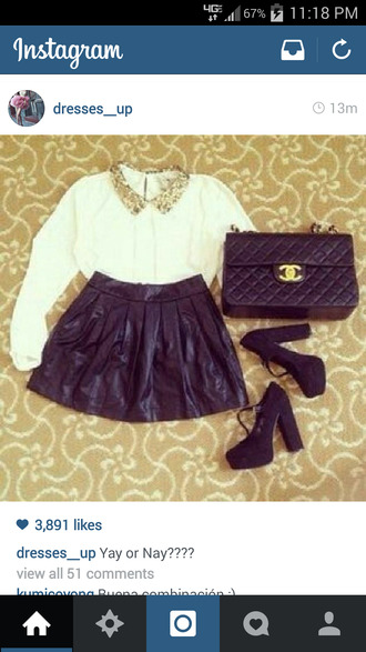 bag black skirt white shirt collar shirt crossbody bag heels with straps skirt