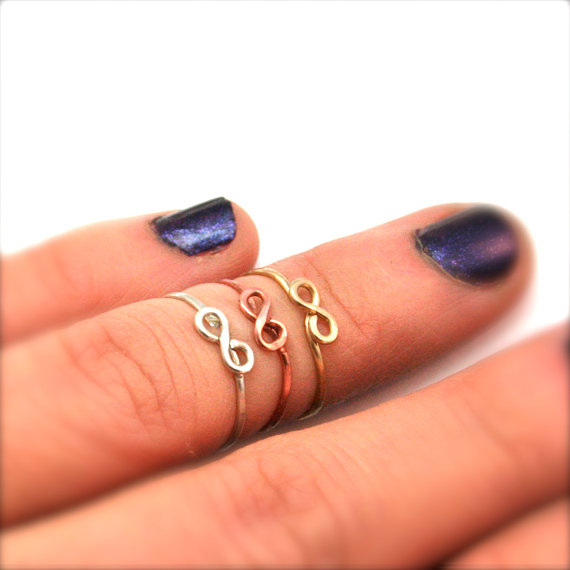 Above the knuckle ring  infinity symbol  dainty by labelledame