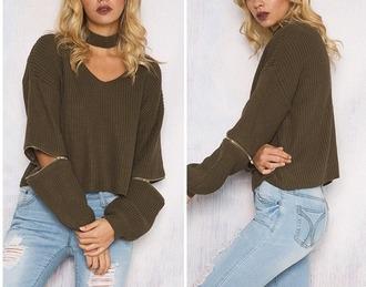 sweater girl girly girly wishlist khaki knitwear knit knitted sweater zip olive green choker sweater