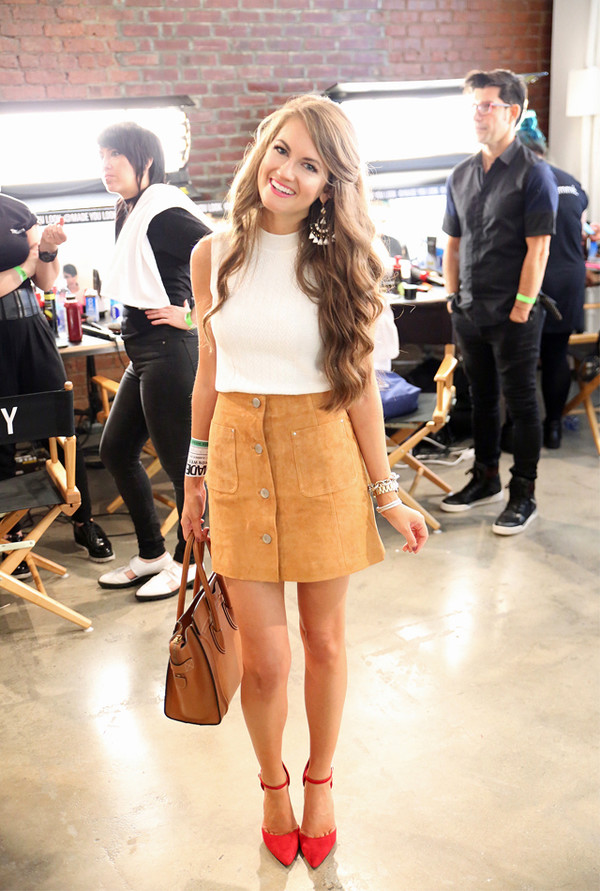 Tan Suede Button Up Skirt