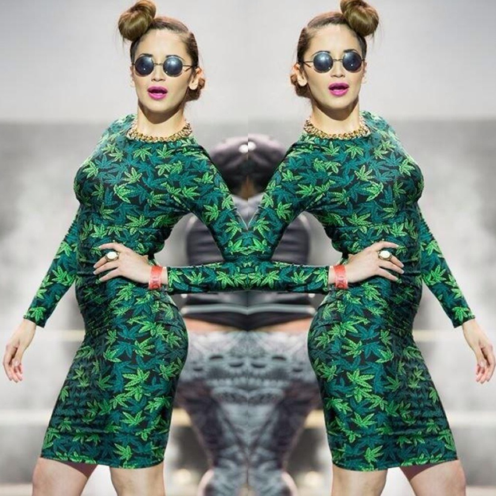 PrettyGuide Women Weed Maple Leaf Print Garter Clip Polyester Skinny Leggings