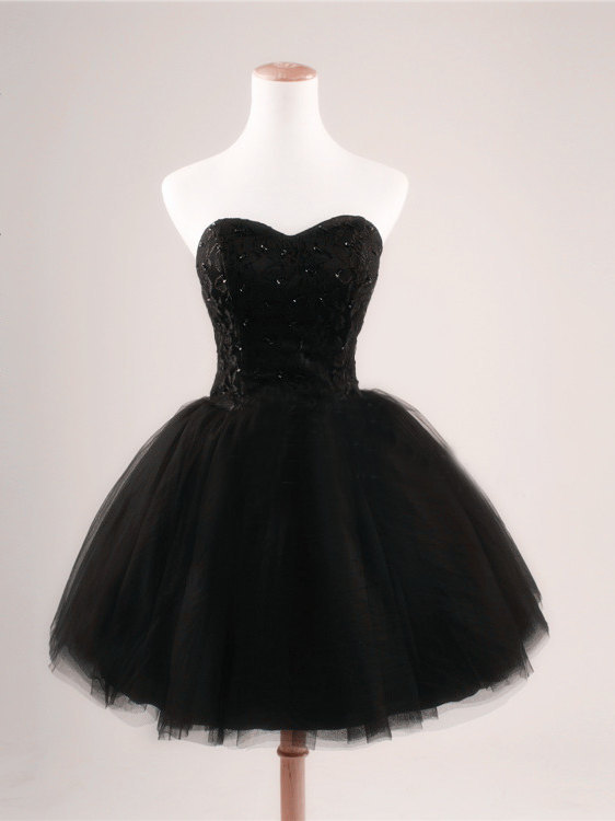Ball gown sweetheart short/mini lace black cocktail dress with sequin npd1054 sale at shopindress.com