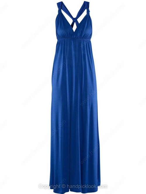 Blue Straps Sleeveless High Waist Back Cross Dress - HandpickLook.com