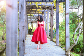 ktr style,blogger,red dress,sandals,red heels,top,skirt,shoes